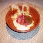 Scamorza affumicata con crema di porcini e speck
