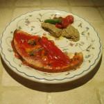 Pesce spada in salsa con crema di melanzane  e feta