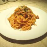 Spaghettoni Ceci e Vongole all'Aglio in Rosso