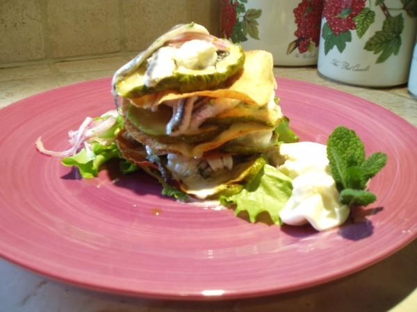 Sfogliatina di Carasau, Zucchine Grigliate, Burrata e Alici