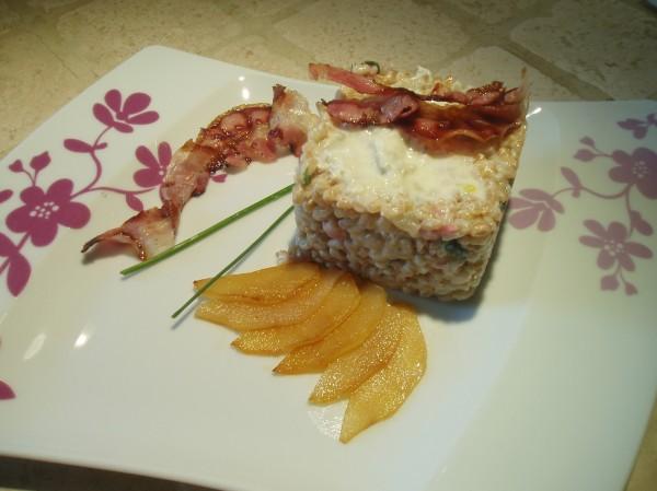 Farrotto alla crema di gorgonzola, pere e pancetta croccante