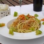 Carbonara ai ricci, uova di aringa e pomodoro verde