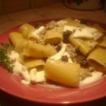 Paccheri con Salsiccia, Burrata e crema di Tartufo