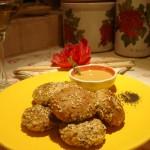 Polpettine di Sgombro, Merluzzo e Mandorle aromatizzate al Timo con Senape al Miele e Mandarino
