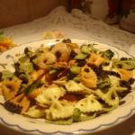 Farfalle in Salsa Tartufata con Mazzancolle, Zucchine e Fiori di Zucca