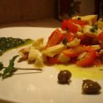 Insalatina tiepida di Seppie, Peperone e Capperi al Limone e Pesto di Menta e Prezzemolo