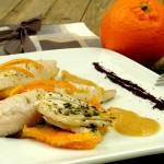 Gallinella glassata, emulsione e carpaccio tiepido di Finocchi e Arancia con polvere di Caffé