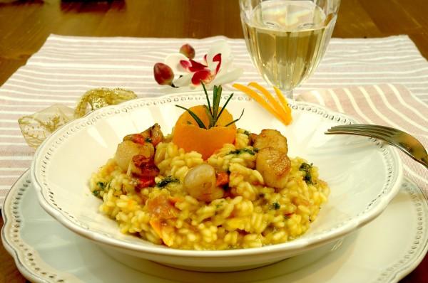 Risotto Fumé all'arancia di Ribera con Canestrelli e gocce al Rosmarino 3