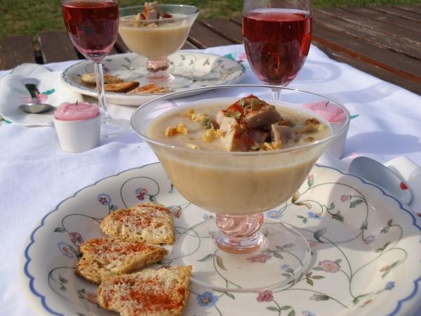Crema di Topinambur con Tonno scottato alla Soia e briciole di Cipolla essiccata 2