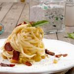 Pici in crema di Pecorino con Bottarga e Salvia