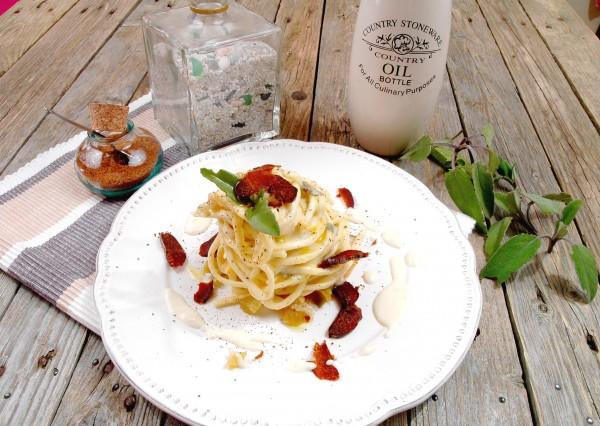 Pici in crema di Pecorino con Bottarga e Salvia 3